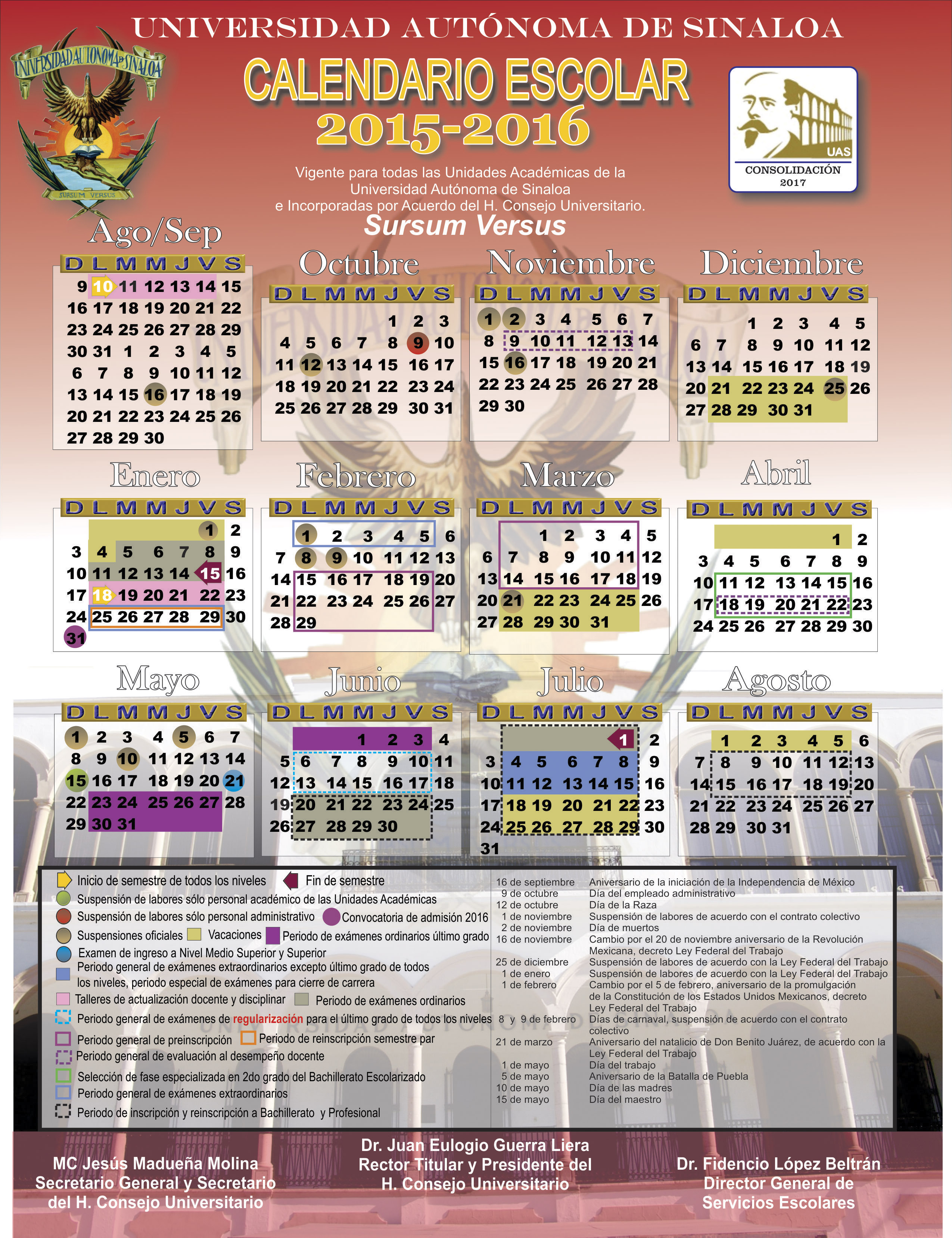 Calendario General de la Universidad Autónoma de Sinaloa 2015-2016