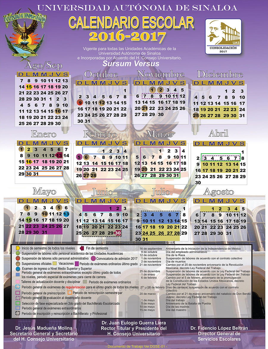 Calendario General de la Universidad Autónoma de Sinaloa 2016-2017